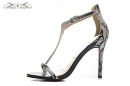 Wholesale Snake Sandals - WBS985B Size 34-42 Women's 10cm 12cm High Heels Gray Snake Leather With T-Strap Ankle Strap Fashion Sandals, Ladies Luxury Brand Party Shoes