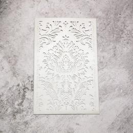 20 piezas - perlas de plata, papel metálico, corte por láser, tarjetas, tarjetas de invitación de boda rectangulares, con un elegante patrón desde fabricantes