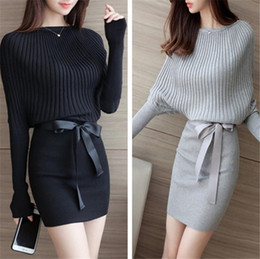 Wholesale Knitted Sweater Dress For Women - Women Sweater Dress Bodycon Sexy Cotton Bow Elastic Spring Autumn Black Knitted Dresses Vestidos Belt Club Dresses for Womens Clothes