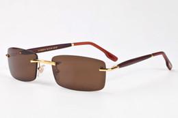 Wholesale Eyeglasses Frameless Men - 2017 round wood legs semi Rimless rimmed Sunglasses men luxury brand buffalo horn Glasses eyeglasses