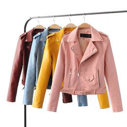 Wholesale Sexy Leather Jackets Fur - women candy color faux PU leather short motorcycle jacket zipper pockets sexy punk coat ladies casual outwear tops casaco