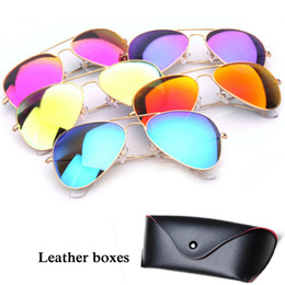 Wholesale Mirror Copper - 11 Colors Mirror Lens Sunglasses Designer Fashion Sun glasses Men Women UV400 Protect Authentic Sunglasses
