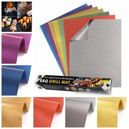 Wholesale Teflon Mat - Colorful Grill Mat Non-Stick High Temperature Outdoor Barbecue Copper Gold Chef Grill Mat 7 Colors With Retail Package 5pcs lot OOA1957