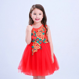Wholesale Evening Dresses For Baby Girls - Embroidered Formal Dress for Girls Floral Red Sleeveless Ball Gown Flower Girl Dresses European Style Baby Girls Charming Evening Dress