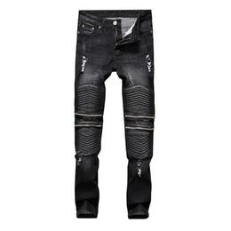 Jeans da motociclista in cotone strappato di alta qualità per pantaloni casual stretti ed elastici di trasporto libero all'ingrosso da