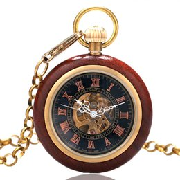 Wholesale Skeleton Pocket Watch Roman Numerals - Wholesale-Roman Numerals Skeleton Watches Steampunk Mechanical Wooden Case Frame Pocket Watch With Chain Free Shipping