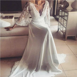 Wholesale cheap satin long skirt - Vintage Wedding Dresses With Deep V Neck Lace Top Illusion Long Sleeves Wedding Dress A Line Bohemia Bridal Gowns Cheap