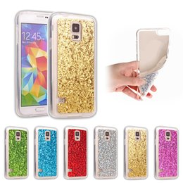 Wholesale s4 full case - Bling Glitter Powder Transparent Full Body Protective Shell Soft TPU Frame Hard Acrylic Back Cover for Samsung Galaxy S3 S4 S5 mini