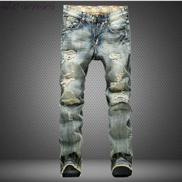 Wholesale Casual Blue Jeans Mens - Wholesale-Big Size 42 European Style Men Jeans Famous Brand Holes Frazzle Jeans Mens Casual Leisure Denim Long Pants Light Blue SL0293