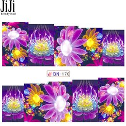 Wholesale Floral Nail Art Designs - Wholesale-Jiji 1 Sheet Water Decals Transfer Sticker Nail Art Beauty Floral Dream Color Flowers Purple Designs Women Mannicuer Tools BN170
