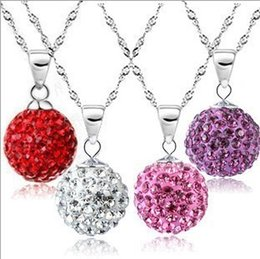 Wholesale Disco Ball Necklace Silver Chain - Pendants Necklaces Brand Necklace 10mm Imitation Diamond Micro Disco Silver Jewelry Charms Ball Crystal Necklaces