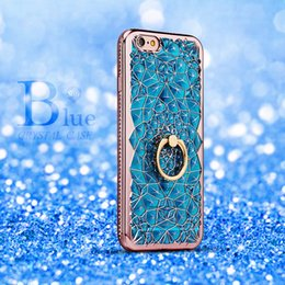 Wholesale Iphone 5s Colors Rhinestone Case - Cell Phone Bling Cellphone Case 3D Electroplating Soft TPU Phone Crystal Rhinestone Cover for iPhone 5 5S 6 6s 7 Plus 4 Colors
