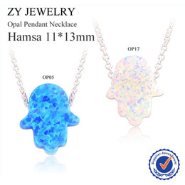 Wholesale Wholesale Chain Buy - Wholesale-Buy 5PCS Get 1 Free!! 2015 New Fashion Jewelry Silver Plated OP05 OP17 Hamsa Opal Necklace For Gift