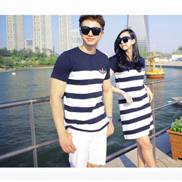 Wholesale Lover Clothes Couples - Wholesale- Fashion Couple Clothes Lovers T Shirts Men Summer Valentine's Day Casual Beach Wear Cute Korea Matching Couple Shirts H018