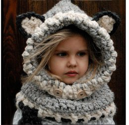 Wholesale Cat Beanie Crochet - Lovely Fashion Fox Ear Cat Winter Windproof Hats Scarf Set For Kids Crochet Headgear Soft Warm Hat Winter Beanies for kids$ adul