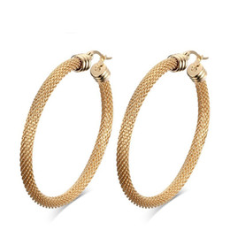 Wholesale Earrings Hoop Punk - Fashion Design Hoop Earring Punk Style Gold Color Stainless Steel Big Round Earrings for Women Jewelry EH-150