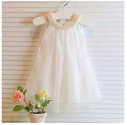Wholesale Elegant Baby Bows - Kids Pearl Collar Chiffon Bow Beach Bohemian Vest Summer Party Dresses For baby Girls Toddler Costume Cute Elegant Vestidos Infantil