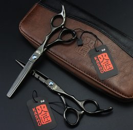 Wholesale Japan Hair Scissors Brand - Wholesale- FAST Shipping! Professional Styling tools brand KASHO sharp black 6 inches 440C hair scissors hairdressing barber shears