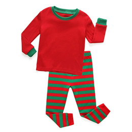 Wholesale Children Sleepwear Nightwear Pyjamas - 2017 Kids Christmas Red and Green Striped Sleepwear Boys Pajama Sets Baby Children Santa Nightwear Pyjamas Set