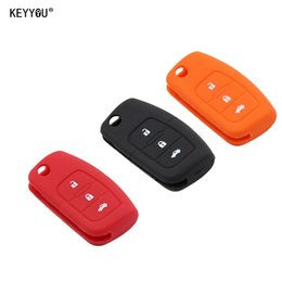Wholesale ford kuga - Silicone Car Flip folding key Cover Remote Case for Ford Fiesta Focus 2 Ecosport Kuga Escape 3 Buttons Free Shipping