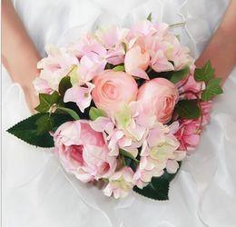 Wholesale Sell Wedding Bouquets - Bridal Wedding Bouquets Wedding Bouquet Flowers Best selling Beautiful Elegant Round Shape Satin Wedding Bouquet flowers WB01