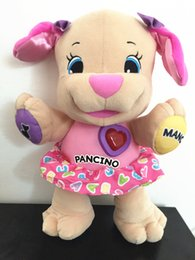 Wholesale Electronic Puppy - Wholesale- Brand new Fisher Dog Laugh & Learn Love to Play Puppy Baby Musical Plush Electronic Toy Dog Singing Italian Songs baby kids gift