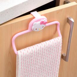 Wholesale Dishcloths Kitchen Towels - Wholesale- hello kitty Free hole towel bar kitchen cabinet door frame hang dishcloth back rack single rod hanging bar towel rack