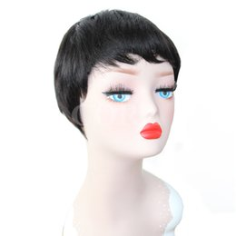 Wholesale Chinese Bangs Black Women - Short cut none lace human bob wigs best human cheap wig with baby hair glueless wigs with bangs for black women