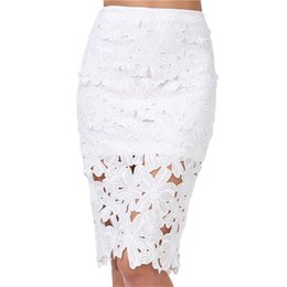 Wholesale Women Pencil Skirt White Color - 2017022531 Summer Women Skirts Fashion Clothing High Street Elegant Casual White Crochet Lace Pencil Skirt