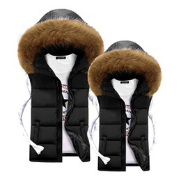 Wholesale Cheap Fur Hooded Jackets - Wholesale- Unisex Men Vest Winter Fur Hooded Vest for Men Warm Coats Jackets Black Fashion Cheap Mens Down Vests Veste Paillette Homme