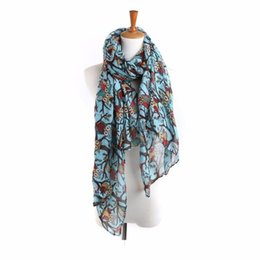 Wholesale Owl Scarf Free Shipping - Wholesale-New Design 90cm*180cm Women Ladies Owl Print Long Scarf Warm Wrap Shawl free shipping N25