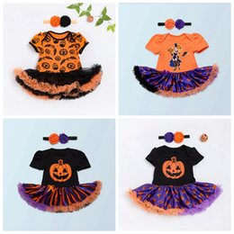 Wholesale Childrens Costumes Wholesale - New kids halloween costumes baby romper girls black pumpkin jumpsuits with tutu skirts infant ruffle onesies + headbands childrens clothes