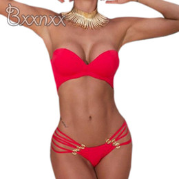 Wholesale Black String Bikini Swim - 2016 New Sexy String Push Up One Piece Swimsuit Women Bandeau Solid Swimwear Red Black Bathing Suit Thong Strappy Swim Wear