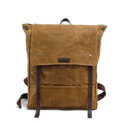 Wholesale Waxed Backpack - Oil wax canvas double shoulder retro students bag waterproof travel bag
