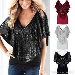 Wholesale black sequin tank top - Summer Women Sequined T shirts Lady Sparkle Glitter Tank Short sleeve Top T-Shirt S M L XL QQSS