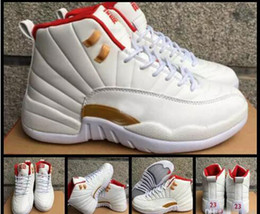 Wholesale Chinese Canvas Sneakers - 2017 Retro 12 Chinese New Year GS 12s CNY Basketball Shoes For Men White Red Gold Suede Retros XII Mens Sports Sneakers 8-13
