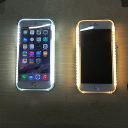 Wholesale Iphone Luminous Back - For iphone 7 plus 6s plus 6 plus Sumsung S6 S7 S6 edge S7 edge Luminous Cases Cell Phone LED Fill Light Selfile Case Back Cover 101