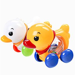 Wholesale Walking Toys Babies - Wholesale- Traditional Pull Along Rattles Duck Plastic Toddler Kids Baby Learn Walk Toy Random Color