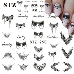 nail water decals black Coupons - Wholesale-STZ 1 Sheets DIY Black Necklace Jewelry Design Fashion Water Transfer Sticker Nail Art Decals Manicure Styling Tools STZ249-251