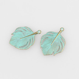 Wholesale Peacock Feather Charms - Wholesale-10pcs lot 33MM Retro Verdigris Patina Plated Zinc Alloy Green Peacock Feather Charms For DIY Jewelry Accessories Free Shipping