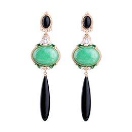 Wholesale Unique Jewlery - New Unique Green Glaze Earrings For Women Retro Artificial Gemstone Dangle Earrings Wholesale Quality European Trendy Jewlery