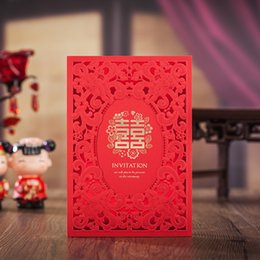 Wholesale Double Happiness Card - Chinese Style Double Happiness Wedding Invitations Elegant Red Flower Frame Card Invite Friend with Envelopes HP6233