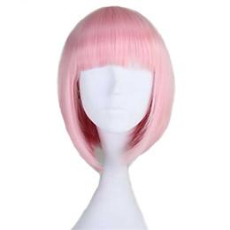 Moda mujer sin tapa corta recta BOB rosa claro peluca sintética explosión completa 8 colores desde fabricantes