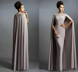 Wholesale winter capes for wedding dresses - 2017 Cheap Long With Cape Satin Mother of the Bride Dresses Formal Party Plus Size Prom Gowns For Wedding Bride Guest Dress