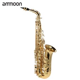 Wholesale E Pads - wholesale bE Alto Saxphone Brass Lacquered Gold E Flat Sax 802 Key Type with Cleaning Brush Cloth Gloves Cork Grease Strap Padded Case