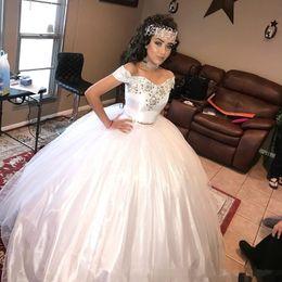 Wholesale Debutante Dresses Short - White Princess Girls Wedding Dresses Two Pieces Crystals Sweetheart Cap Sleeve 2017 Custom Made Sweet 16 Debutantes Long Bridal Ball Gowns