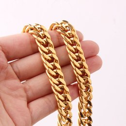 """Wholesale Golden Thick Necklaces - 18-36"""" For Choose 12mm Golden Plated Stainless Steel Thick Curb Cuban Link Chain Men Jewelry Necklace"""
