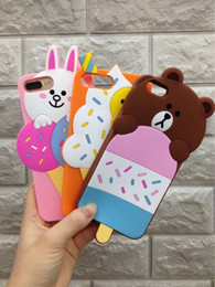 Wholesale Silicone Duck - 3D Ice Cream Bear Duck Silicone Cartoon Rabbit Soft Gel Back Case For iphone 8 7 plus Cover 6 6s goophone i7 plus
