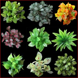 Wholesale Rustic Artificial Flowers - 1PC Plastic Imitation Fern Green Grass Artificial Plants For Household Store Dest Rustic Garden Decoration Clover Plant Wedding Flowers