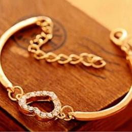 kristall armband armbänder großhandel Rabatt Armband-Armbandarmband des Herzkristalldiamanten Herzarmbandpfirsichherzes kleiner Damen wholesale freies Verschiffen